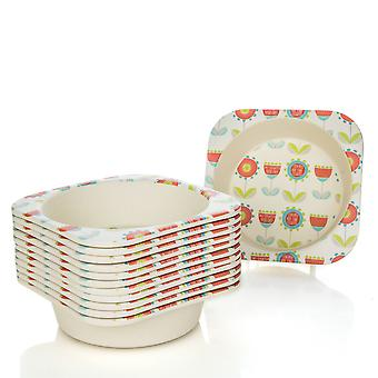 Tiny Dining Children's Bamboo Fibre Dining Bowl - Flower - Pack of 12