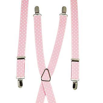 Krawaty Planet Pink & White Polka Dot Men's Chudy spodnie szelki