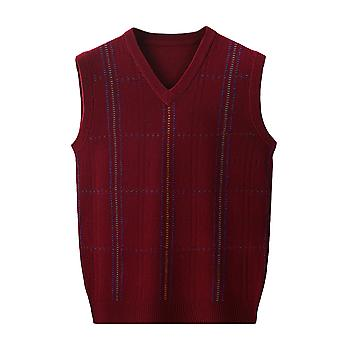 YANGFAN Mens V-Neck  Vest Knitted Splicing Tanks Tops