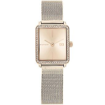 טומי הילפיגר 1782293 גוון זהב ורוד מלבני רשת צמיד שעון יד