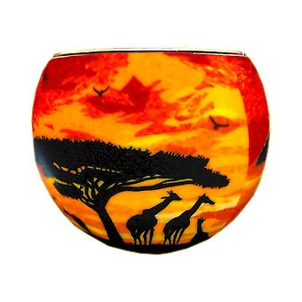 Milford Collection Giraffe Sunset Tealight Holder Light Glass