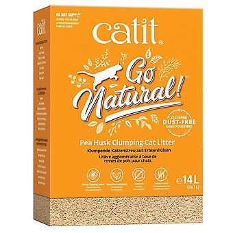 Catit Go Natural Pea Husk Clumping Cat Litter - Vanilla Scented 14Ltr