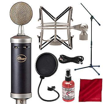 Microphone bleu de condensateur de studio de sl de biberon sl grand-diaphragme avec le support de perche et le faisceau d'accessoire de luxe de filtre de bruit