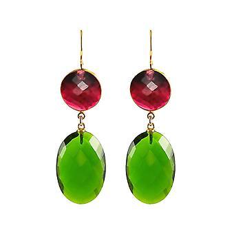 Gemshine Ohrringe mit grünen Turmalin Quarz Ovalen und roten Quarz Edelsteinen