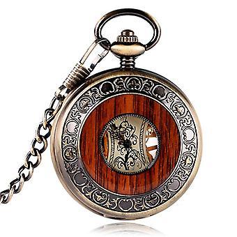 Deffrun Vintage Hand Wind mechanische Uhr Holz Design Taschenuhren