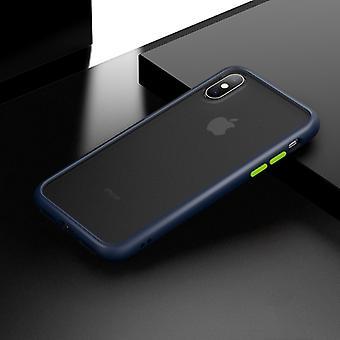 Schokbestendige Frosted PC+ TPU Case voor iPhone XS / X(Blauw)