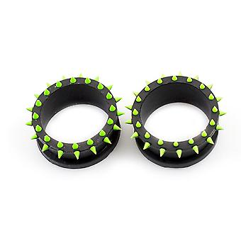Pair of silicone tunnels / plugs with multiple spikes double flared