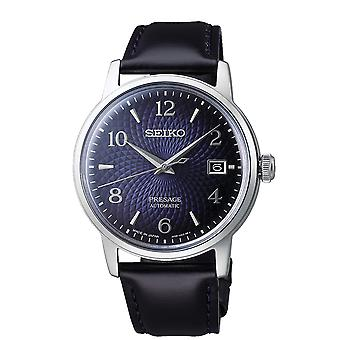 Seiko SRPE43J1 Presage Silver & Navy Leather Automatic Men's Watch