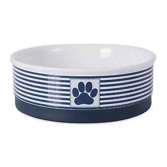 Dii Pet Bowl Paw Patch Stripe Nautical Blue Medium 6Dx2H