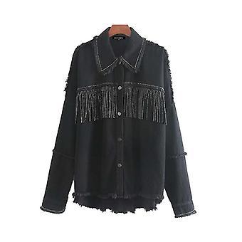 Fashion Oversized Frayed With Fringe Denim Jacket Coat Vintage Tassel Outerwear