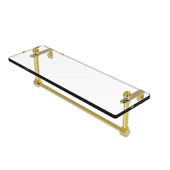 Estante de tocador de vidrio de 16 pulgadas con barra de toalla integrada - Pr-1/16Tb-Pb