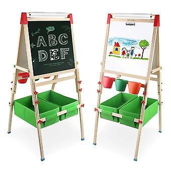 Arkmiido 4in1 Holz kid's Kunst Staffelei mit Papierrolle doppelseitige Staffelei Tafel und weiße Staffelei p
