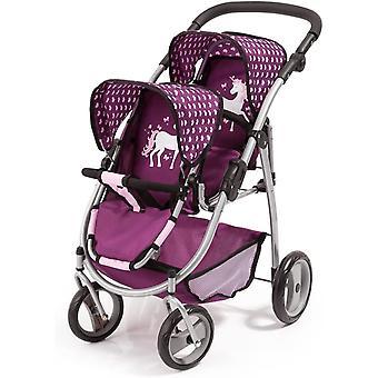 Bayer Design 26537AA Doll's Twin Tandem Pram, Foldable, Height-Adjustable Handle, Pink, Purple