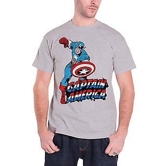 Captain America Mens T Shirt Grey Marvel Comics Logo Stance Official
