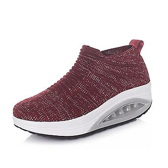 Women Slimming Shoes Fly Wire Air Slip-on Sneakers, New Wedge Height Increasing