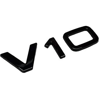 V10 Stick On Badge Emblem Gloss Black Letters Numbers Stick on For S6 RS6 S8 R8