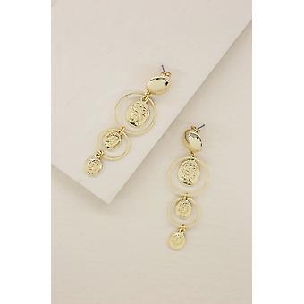 Gold Coins In Orbit Dangle 18k Gold Plated Earrings