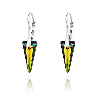 Silver earrings with swarovski crystal vitrail medium