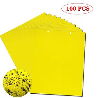 100/50/30pcs Strong Fly Traps Bugs Sticky Board Dual-Sided Catching Aphid Insects Pest Control Whitefly Thrip Leafminer Glue Sticker