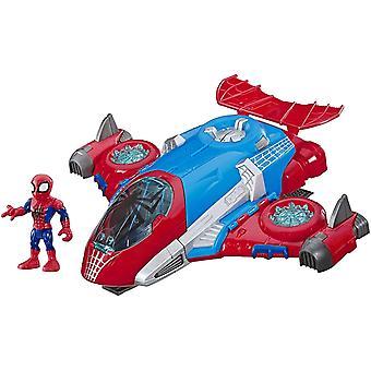 DZK Heroes Marvel SUPER HERO ADVENTURES Spider-Man Jetquarters, 5-Inch Action Figure