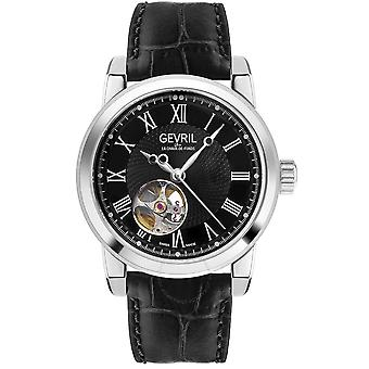 Gevril Madison Automatic Black Dial Black Leather Men's Watch 2581