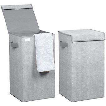 HanFei 2er-Set Wschekorb mit Deckel grau – Faltbarer Wschesack – Idealer Wschesammler