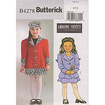 Butterick نمط الخياطة 4278 الفتيات الفتيات الفتيات سترات تنورة القبعات حجم 6-8