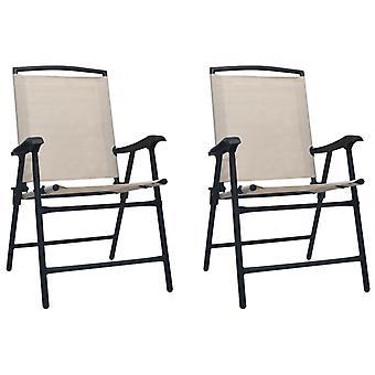 Folding Garden Chairs 2 Pcs Texilene Cream