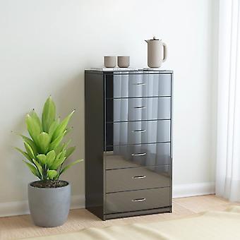 vidaXL Sideboard 6 drawers high gloss black 50x34x96 cm chipboard