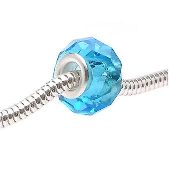 Faceted Glass European Style Large Hole Bead - Capri Blue 14mm (1)