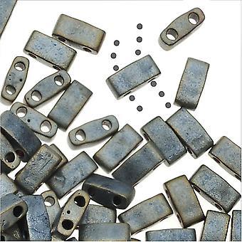 Miyuki Half Tila 2 отверстия прямоугольные бусины 5x2.3mm - Матовый металлик серебристо-серый 7.8 грамм