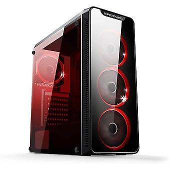 FengChun Warmachine - Gamer-PC-Gehäuse Mittlerer Gehäuseturm ATX - 4 geräuschlose Lüfter -