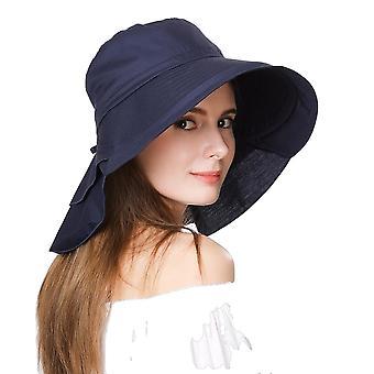 Women Summer Beach Vikbara hattar Upp f50 + UV Bomull Hästsvans Keps