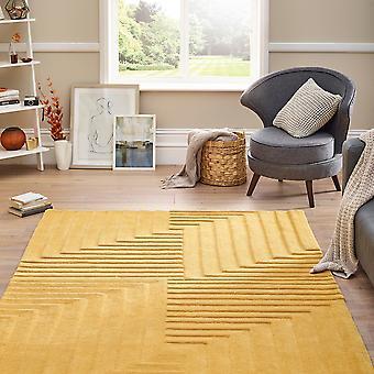 Linear Geometric Wool Rugs In Ochre Yellow