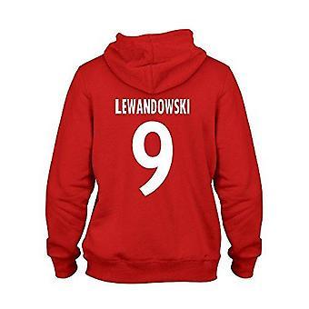Robert lewandowski 9 club player style kids hoodie red/white