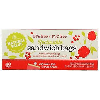 Natural Value Bag Sandwch Reclsble, Case of 12 X 40 Bags