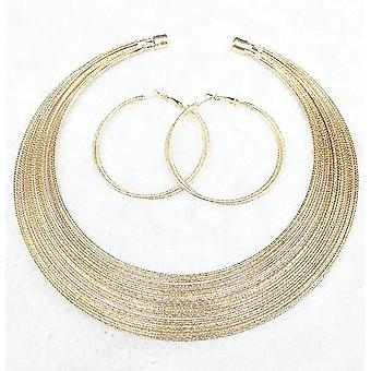 Women Necklace Set African Multilayered Silk Alloy Collar For Exhibition