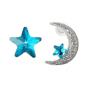 Unique Asymmetric Ear Stud Earring Luxury Micro Paved Zirconia Crystal Star Moo