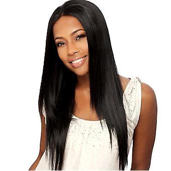 Verklighetstrogen lång rak peruk för kvinnor (svart)