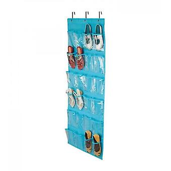 24 Pockets,crystal Clear Over The Door Hanging Shoe Organizer(Blue)
