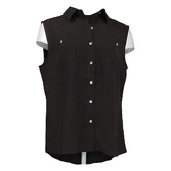 الدنيم وشركاه المرأة أعلى قميص بلا أكمام ث / Shirttail هيم الأسود A354002