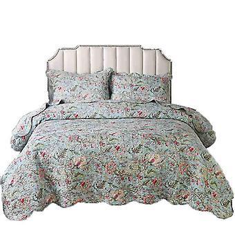 Floral bedding quilt set 3 piece spring summer coverlet blanket(1 quilt plus 2 pillowcase)