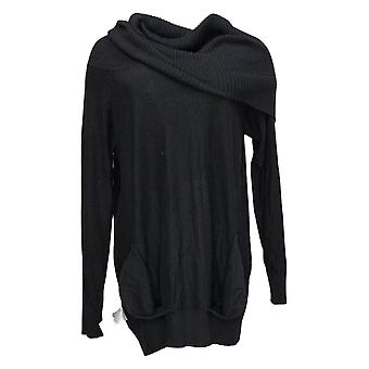 Colleen Lopez Dames Sweater Cabrio hals met zakken Zwart 724160