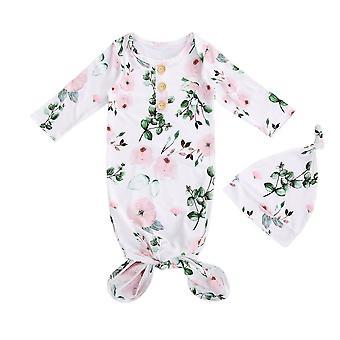 2kpl puuvilla vastasyntynyt vauvan makuupussit hattu kukka painatus koko kehon klassinen