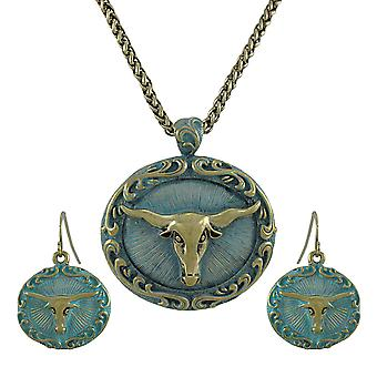 Bronze and Turquoise Blue Western Longhorn Necklace and Earrings Set