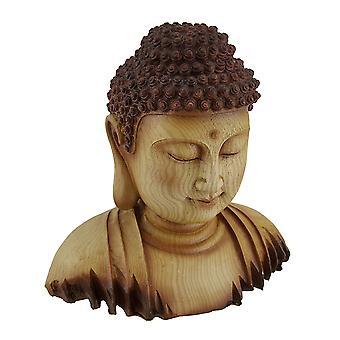 يتأمل تمثال بوذا الزخرفية نظرة الخشب منحوتة فو رئيس