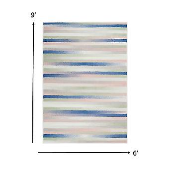 6' x 9' Ivory Halftone Stripe Area Rug
