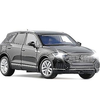 Toy cars 1/32 alloy shock absorber 2018 touareg suv model toy car simulation front wheel steering die cast