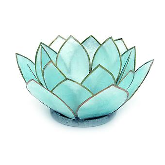 Blue Capiz Shell Blooming Lotus Flower Blossom Tealight Candle Holder