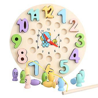 Multifunctional Intelligence Teaching Clock Children Early Education Paired Fishing Game Understanding Time Mathematics Enlightenment